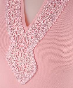 Joseph A Knit Top with Trim Neckline