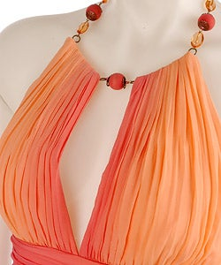 Max and Cleo by BCBG Ombre Necklace Halter Dress