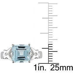 10k White Gold Square Swiss Blue Topaz Ring