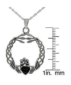 Tressa Sterling Silver Onyx Braided Claddagh Pendant