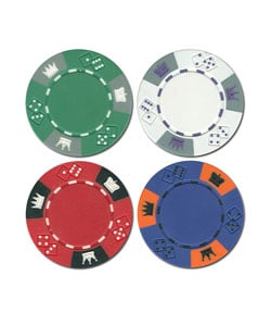 500 -piece Tri-Color Crown & Dice Poker Chip Set