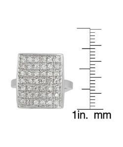 Tressa Sterling Silver Rectangular CZ Pave Ring
