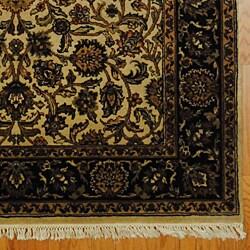 Indo Tabriz Hand-knotted Rug Ivory/ Black (5' x 7')