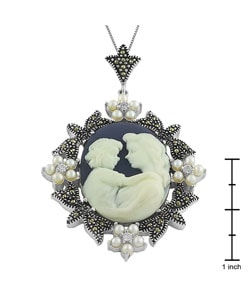 Sterling Silver Cameo Necklace of mother and child