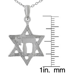 Journee Collection Sterling Silver Star of David Necklace with Chai Center