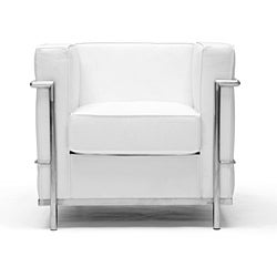 LC White Leather Sofa & Chair Set