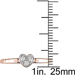Miadora 10k Pink Gold 1/10ct TDW Diamond Heart Ring