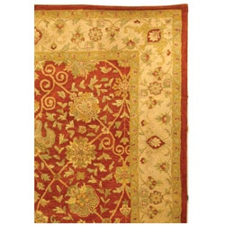 Handmade Antiquities Mashad Rust/ Ivory Wool Rug (8'3 x 11')