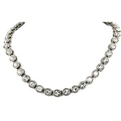 Silver-plated All-around CZ Necklace with Lobster Claw Clasp