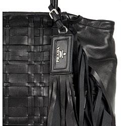 prada saffiano zip wristlet - Prada Nappa Leather Woven Tote with Fringe Detail - 11315221 ...