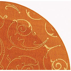 Indoor/ Outdoor Oasis Terracotta/ Natural Rug (6'7 Round)
