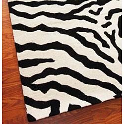 nuLOOM Zebra Animal Pattern Black/ White Wool Rug (5' x 8')