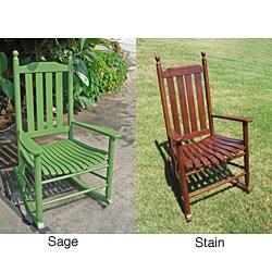 Wood Blue Grass Rocker Chair