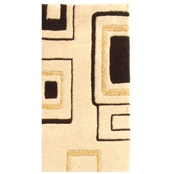 Handmade Soho Gala Beige/ Brown N. Z. Wool Runner (2'6 x 8')