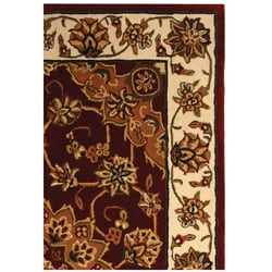 Handmade Traditions Tabriz Red/ Ivory Wool and Silk Rug (4' x 6')