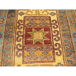 Indo Kazak Hand-knotted Red/ Gold Rug (4' x 6')