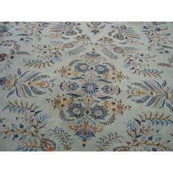 Persian Kashan Light Blue/ Grey Rug (9'9 x 12'4)