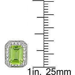 Miadora 10k Gold 1/5ct TDW Diamond and Peridot Earrings