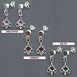 Sterling Silver Gemstone Drop Earrings (India)