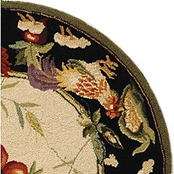 Hand-hooked Rooster Garden Ivory/ Black Wool Rug (5'6 Round)