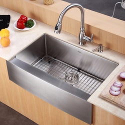 Kraus 30-inch Farmhouse Apron Single Bowl Stainless Steel Kitchen Sink