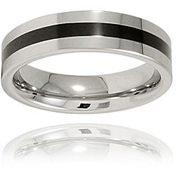 Men's Tungsten Carbide Polished Black Resin Inlay Band (6 mm)