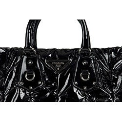 Prada Black Patent Leather Quilted Tote Bag - 11490165 - Overstock ...