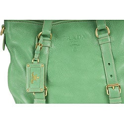 Prada \u0026#39;Cervo Folding\u0026#39; Green Deerskin Tote Bag - 11490653 ...