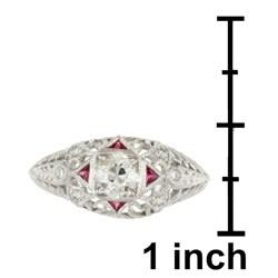 Platinum 2/5ct TDW Mine Diamond Engagement Ring (M, SI1)