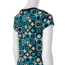 JKLA California Women's Circle Print Keyhole Top