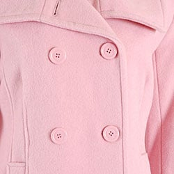 Black Rivet Women's Pink Button-front Wool Peacoat