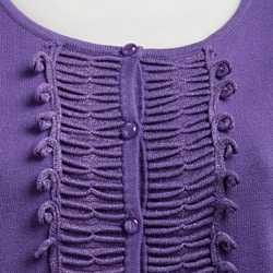 Colour Works Women's Pleated Ruffle Front Cardigan