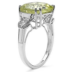 Malaika Lemon Topaz and Diamond Silver Ring