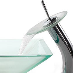 Kraus Aquamarine Frosted Glass Sink and Waterfall Faucet