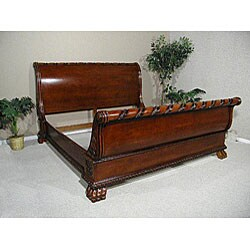 acme furniture konane brown cherry 4 piece sleigh bedroom set