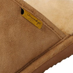 Brumby Men's Suede Fabric Genuine Backless Sheepskin Slippers