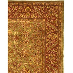 Safavieh Handmade Golden Jaipur Green/ Rust Wool Rug (6' x 9')