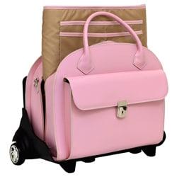 McKlein Pink Glen Ellyn  Leather Detachable Wheeled Laptop Case
