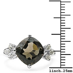 Malaika Sterling Silver Genuine Smokey Quartz and White Topaz Ring