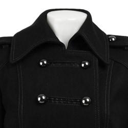 JLo Women's Black Long Military Wool Coat