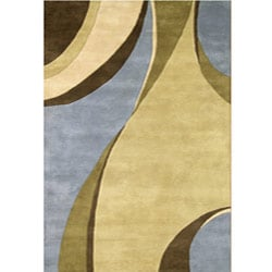 Hand-tufted Multicolor Waves Rug (5' x 8')