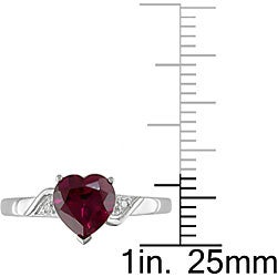 14k White Gold Created Ruby and Diamond Heart Ring