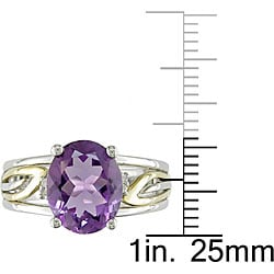Miadora Sterling Silver and 10k Gold Amethyst and Diamond Ring