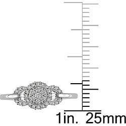 Miadora 10k White Gold 1/5ct TDW Diamond Halo Ring (I-J, I2)