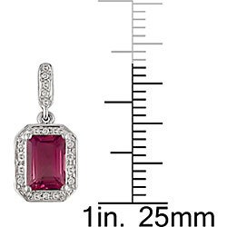 10k White Gold Created Ruby Diamond Earrings