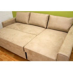 Beige Microfiber Sectional Sofa with Storage Chaise