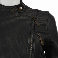 MICHAEL Michael Kors Women's Leather Motorcycle Jacket - Overstock
