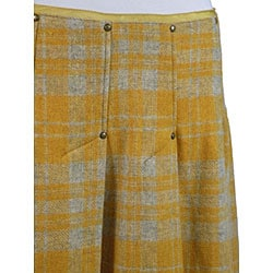 Fornarina Women's Yellow Plaid Wool Skirt