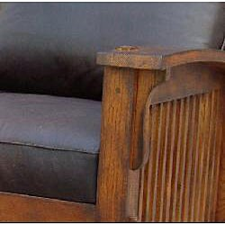 Vintage Leather Morris Chair with Ottoman