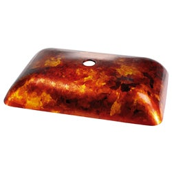 Kraus Fire Opal Rectangular Glass Vessel Bathroom Sink